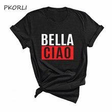 Bella ciao algodão verão t-shirts la casa de papel camisa das mulheres dos homens dinheiro roubo camiseta impressão das mulheres roupas dropshipping