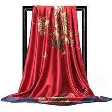 Foulard Hijab musulman en soie imprimé pour femme, écharpes carrées pour cheveux et cou, foulard châle de bureau, bandana, mouchoir Hijab musulman, 90x90cm