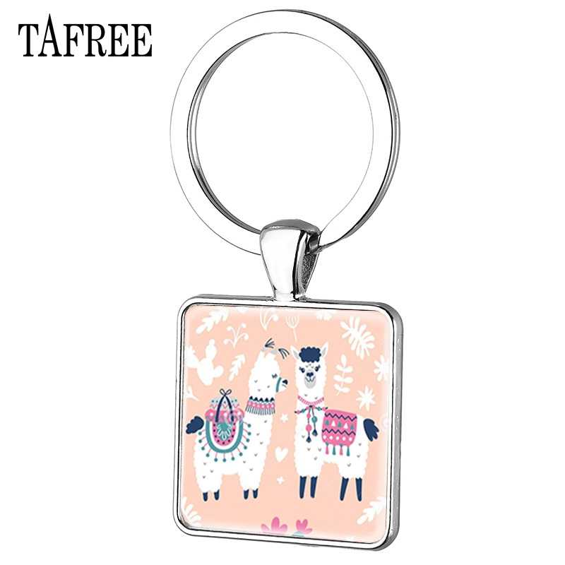 Tafree moda bonito cor sólida alpaca quadrado chaveiro para mulheres menina charme carro chaveiro metal anel chave de vidro redondo jóias yt48