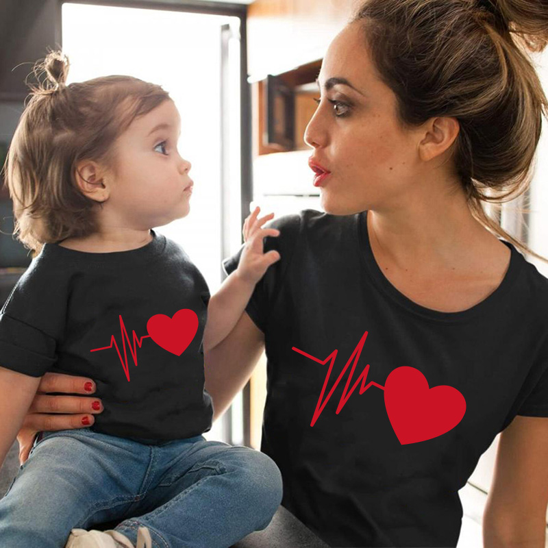Love Heartbeat Cotton Family Matching Clothes Baby Girl Clothes Outfits Mother And Daughter T-Shirt Summer Baby Mama Tshirt
