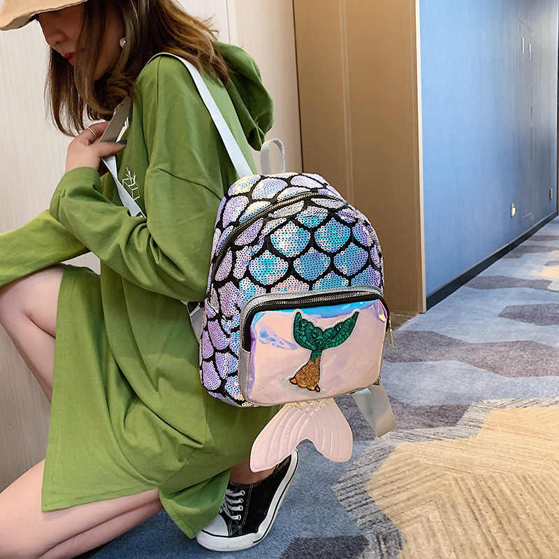 Модный крутой женский рюкзак, уличный, для телефона, кошелек для монет и карт, ранец, персональный, с лазерными блестками, школьный ранец, женская сумка через плечо