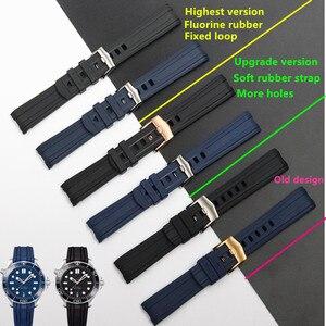 Image 1 - Qualidade da marca 20mm borracha macia silicone pulseira de relógio fivela moagem arenaceous cinto especial para omega cinta para seamaster 300 logotipos