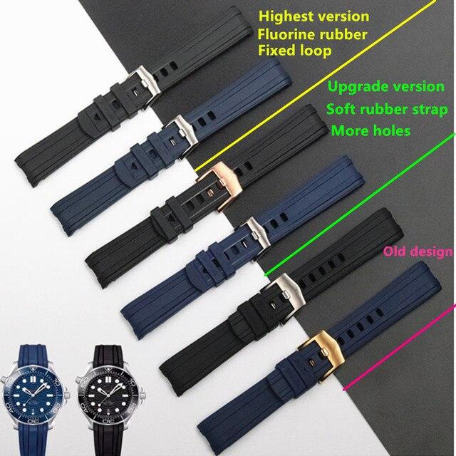 Qualidade da marca 20mm borracha macia silicone pulseira de relógio fivela moagem arenaceous cinto especial para omega cinta para seamaster 300 logotipos