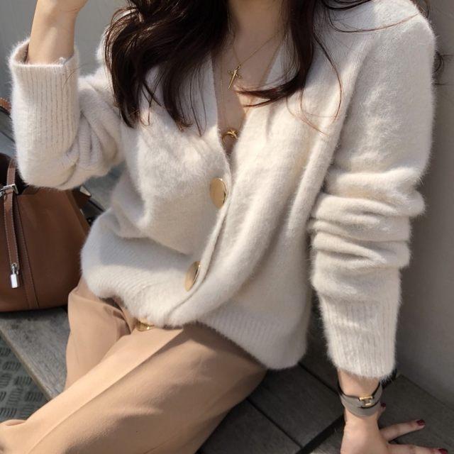 Mooirue Autumn Women Soft White Knitted Cashmere Sweater Double Button Women Warm Jumper V-Neck Winter Sweater 22