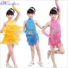 110cm-170cm Children Kids Fringe Ballroom Samba Dress Ballroom Tango Dresses Ballroom Dance Dress For Girls fringe cami dress
