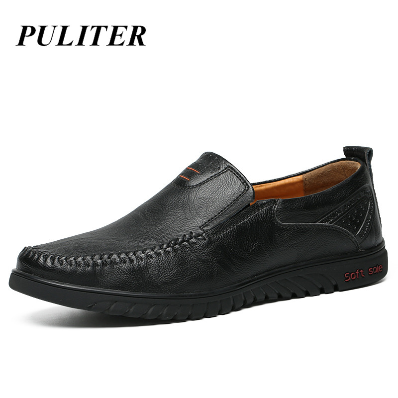 Italian Casual Shoes Men Loafers Luxury Brand Genuine Leather Penny Loafers Men Breathable Boat Shoes Slip On Moccasins PUTILER