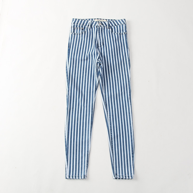 Ya27 2018 Autumn New Style Composite materials-Style Blue And White Stripe Washing Slim Fit Cowboy Skinny Pants