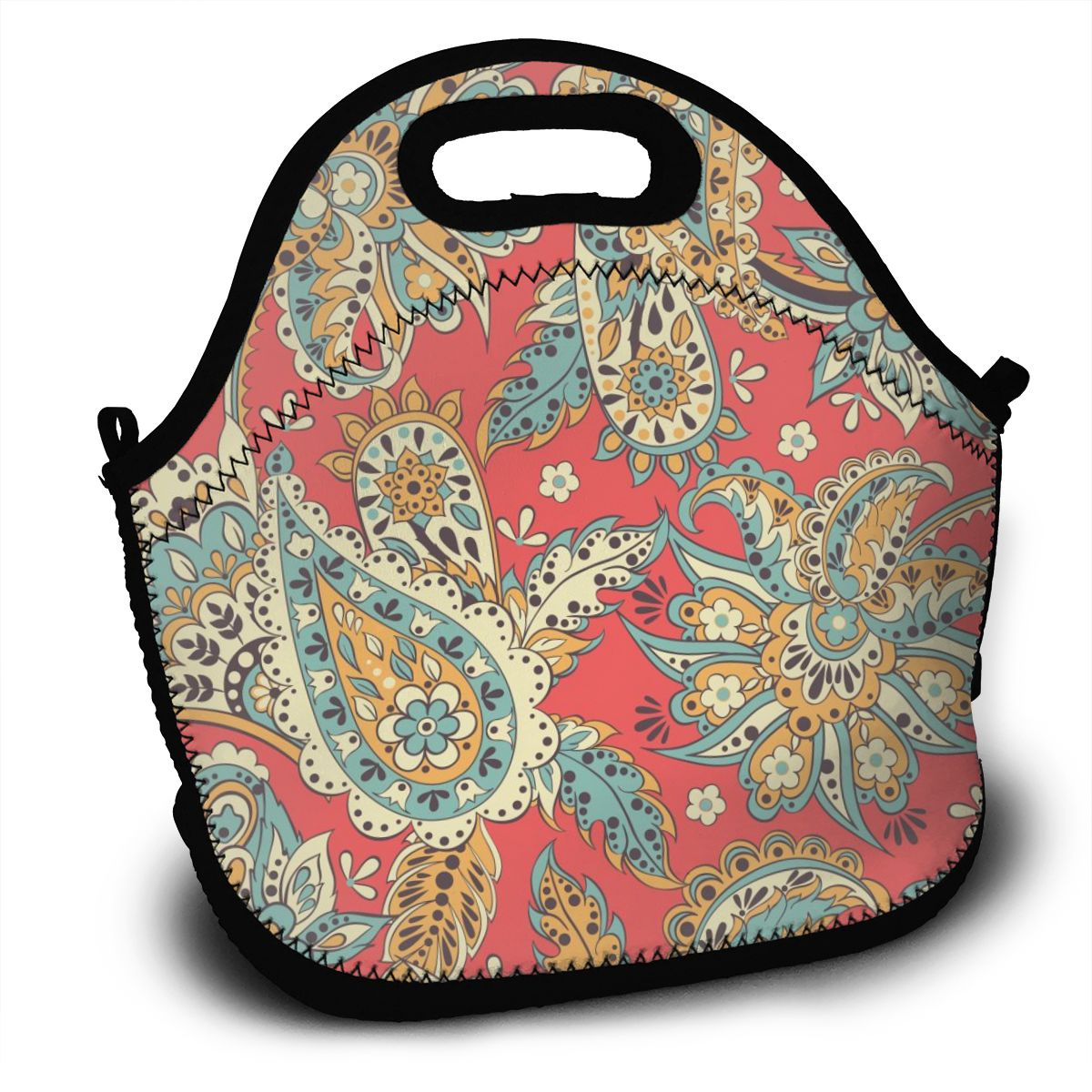 Portable Lunch Bag Indian Paisley <font><b>Fllowers</b></font> Women Reusable Lunch Bags For Work Pinic Travel 2020 Casual Handbags image