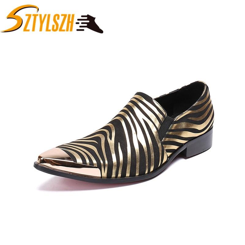 Nouveaux hommes robe chaussures en métal bout pointu rayé formel hommes chaussures affaires Oxford chaussures pour hommes nouvelles chaussures de mariage Zapatos de cuero