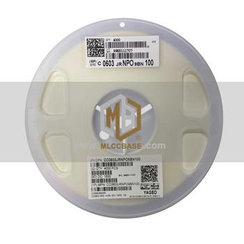 MLCCBASE 0603 1608 100J 10pF 50V opakowanie 4 wymagający na rolkę 0 85T grubość wielowarstwowy kondensator ceramiczny takiej samej wartości CC0603JRNPO9BN100 tanie i dobre opinie Ładowarka Akcesoria CN (pochodzenie) 0603 1608 ±5 0 8mm 4 000pcs RoHs Reach MSDS