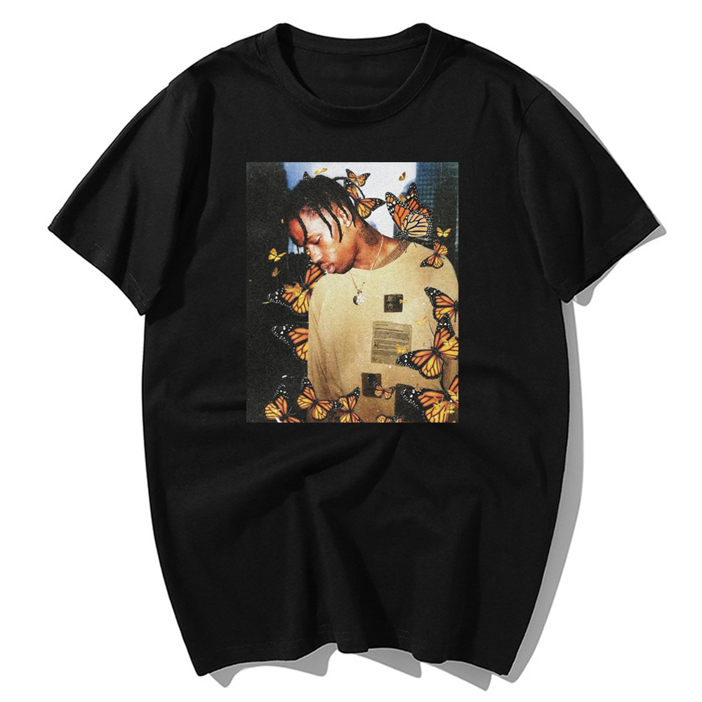 2019 Fashion Travis Scott T Shirt Effect Rap Butterfly Music Album Cover Face Men 100% Cotton Summer Hip Hop Tops T-Shirts S-3xl