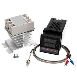 Régulateur de température PID numérique REX C100 Thermostat + 25DA SSR relais K Thermocouple 1M M6 sonde filetée + dissipateur de chaleur
