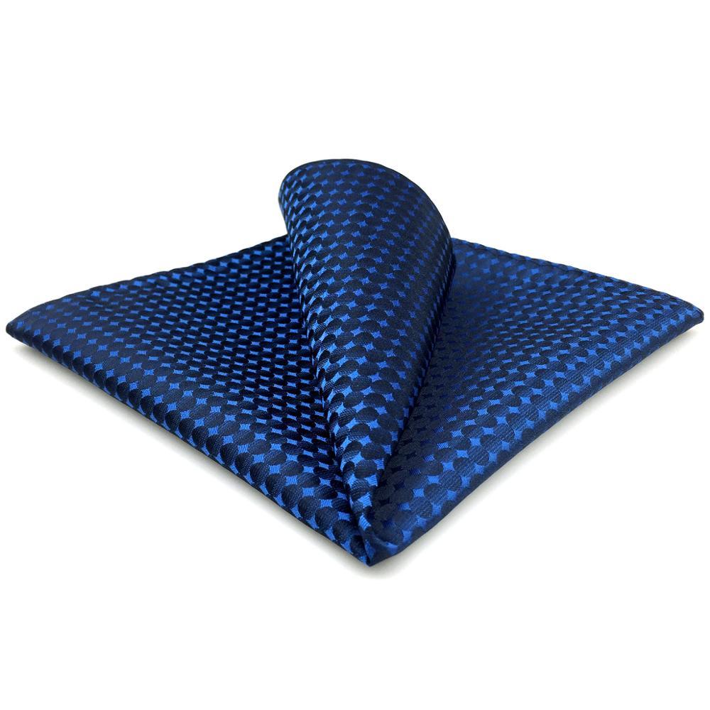 FH25 Blue Dots Mens Pocket Square Handkerchief Silk Large 12.6