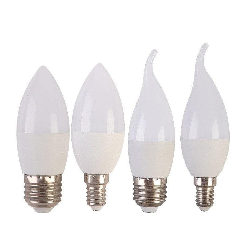 10 шт./лот светодиодный лампы в форме свечи лампы E14 E27 светодиодный светильник в помещении теплый холодный белый светильник 7 ваттов 9 ваттов ...