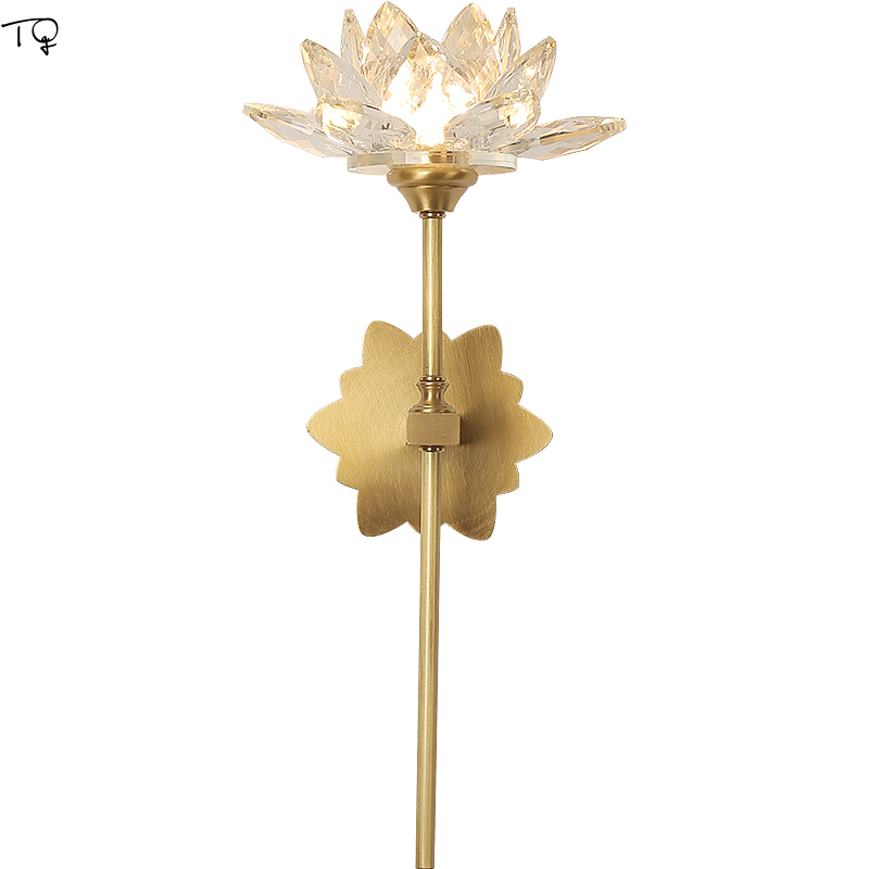 Chinese Zen Art Crystal Wall Lamp Copper Lotus Flower Wall Light Retro Vintage Led Indoor Wall Lamps Living Room Bedroom Study
