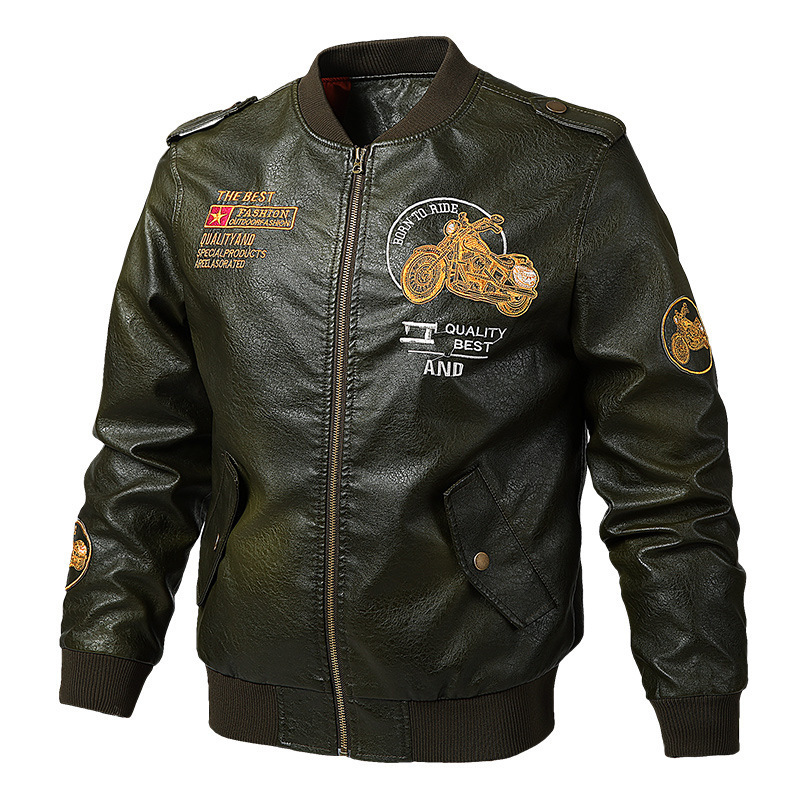 2019 New Style Separate Station Spring And Autumn Men Leather Jacket PU Leather Casual Locomotive Baseball Jacket