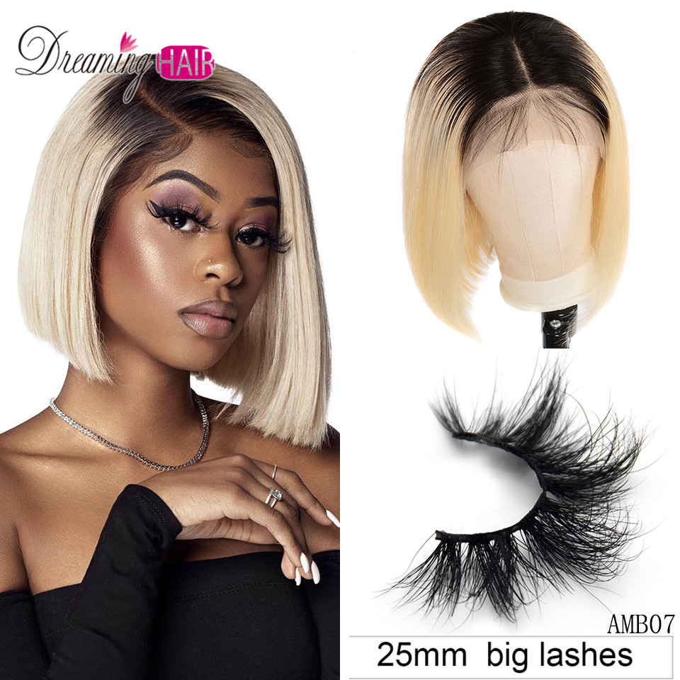 13x6 Blonde Lace Front Wig Brazilian 1B 613 Short Bob Lace Front Human Hair Wigs For Black Women 180%  Ombre Lace Front Wig