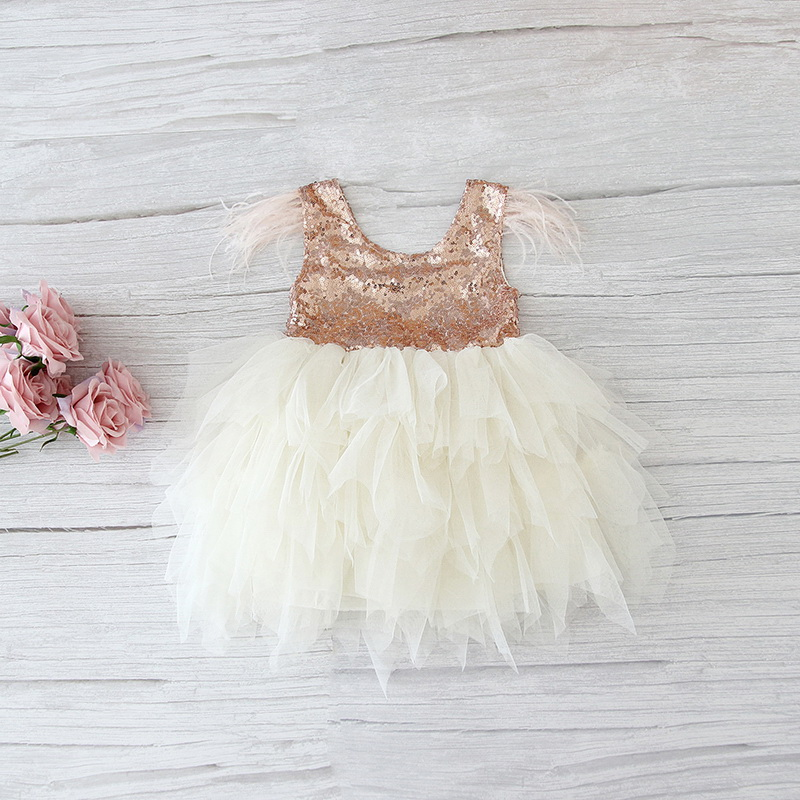 69-3-Feather Sequins Tiered Girls Dress