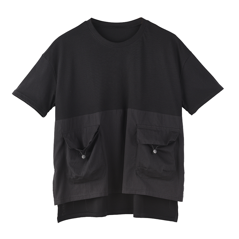 [EAM] Women Black Pocket Irregular Split Big Size T-shirt New Round Neck Short Sleeve  Fashion Tide  Spring Summer 2020 1T70601 7