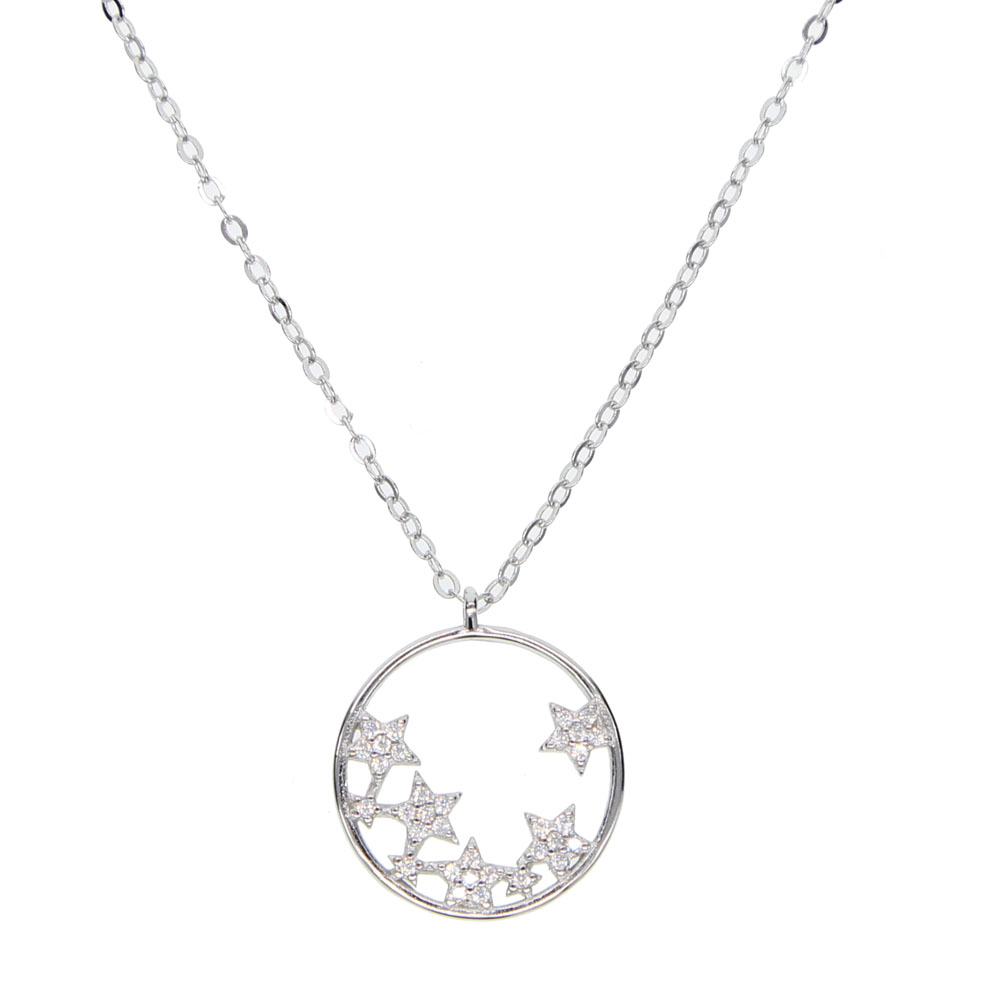 guaranteed 925 fine silver Dainty Choker Circle silver Chain Necklace For Women cz star Charm Circle Chain Choker Necklace 41+5