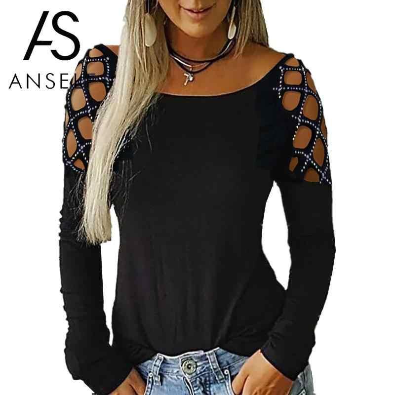 Kobiety T Shirt 3XL 4XL 5XL t-shirt plus size stałe Rhinestone Hollow z długim rękawem Sexy klubowy strój imprezowy Tee Shirt bluzki damskie