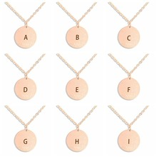 26 Letters Engraved Women Rosegold Chain Necklace Personalized Initials Name Pendant Necklaces Gift for Lovers