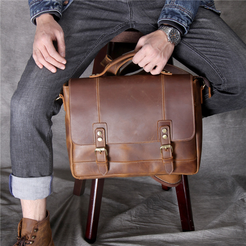 Leather Messenger Bag Fashion Business Designer Casual Shoulder Men/'s Briefcase
