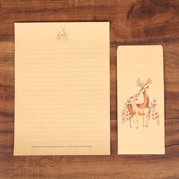 XRHYY 6 шт., винтажная бумага для письма с оленем и конвертами, ретро набор, крафт-бумага для письма, винтажный набор бумаги с буквами - Цвет: Set2