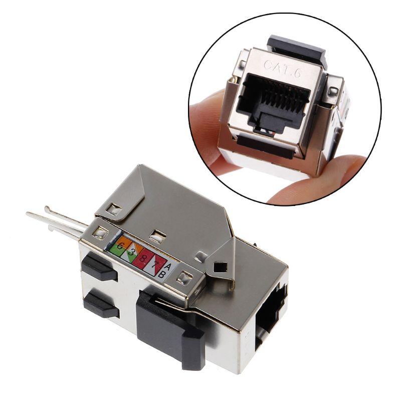1Pc RJ45 Keystone Cat6 Shielded FTP Copper Alloy UTP Network Module Keystone Jack Network Connector Adapter Information Socket K