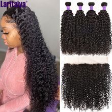 Hair-Bundles Closure Frontal Lace Curly Transparent Peruvian