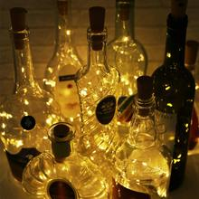 Battery Powered Garland Wine Bottle Lights with Cork 1M 2M LED Copper Wire Colorful Fairy Lights String for Party Wedding Deco
