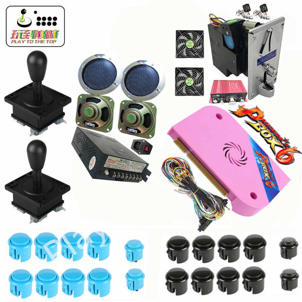 새로운 아케이드 게임 DIY 키트 판도라 박스 6 Jamma board 1300 in 1 전원 공급 장치 조이스틱 LED 버튼 비디오 게임 캐비닛 기계