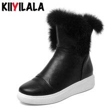 Kiiyilal New Warm Side Zipper Snow Boots Real Rabbit Fur Winter Shoes Height Increasing Woman Shoes New Short Plush Women Boots мотыжка садовая maxi raco без серии 4230 53813