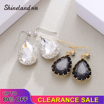 Shineland Cheap Simple Waterdrop Black White Crystal Drop Dangle Earrings for Women Vintage Charm Wholesale Valentine's Day Gift image