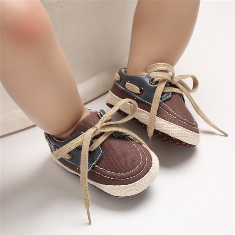 Baby Boy Casual Shoes Soft Sole Shoes Infant Baby Boy Girl Toddler Sneaker Anti-Slip Lace-up Canvas Shoes 0-18 Months
