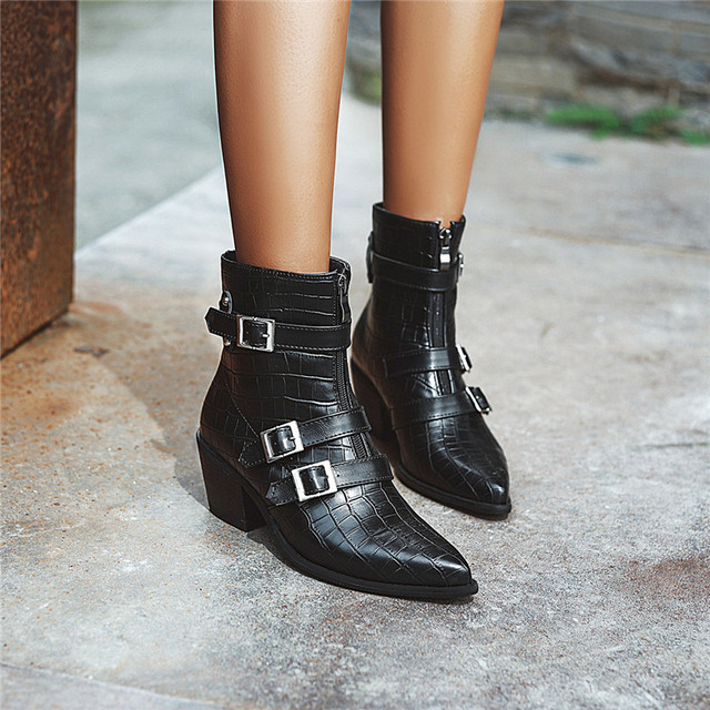 YMECHIC Plus Size Occident Brown Buckle Front Zipper Block Heels Ankle Boots for Women Shoes Cowboy Western Boots Winter 2019