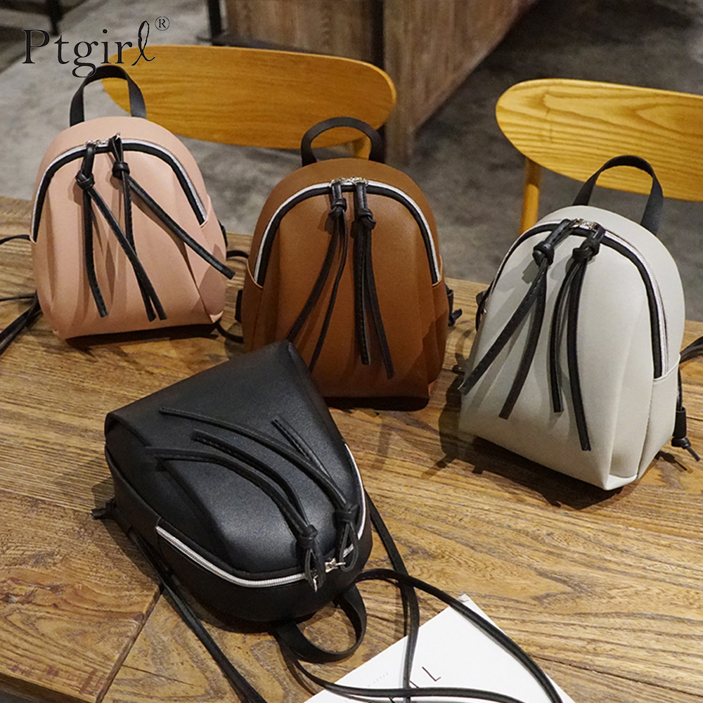 Small Backpack Women Leather Bag 2019 Fashion Multi-Function Mini Backpacks Ptgirl Female School Bagpack Bag For Teenage Grils