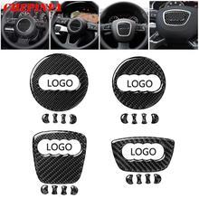 Carbon Fiber Car Steering Wheel Ring Trim Sticker Logo Decals Cover Decoration For Audi A3 8V A4 B8 Q3 Q5 8R Q7 SQ7 Auto Styling