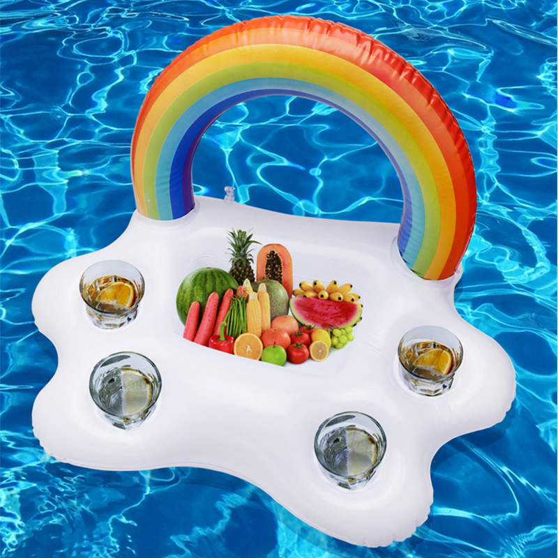 Table Bar Tray Beach Swimming Ring Summer Pool Party Bucket Rainbow Cloud Cup Holder Inflatable Pool Float Beer Drinking Cooler