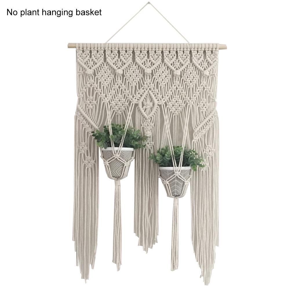 Wall Macrame Chic Bohemian Hand-woven Tapestry Hanging Basket DIY Net Bag Hotel Countyard Room Decoration Macrame Plant Hanger