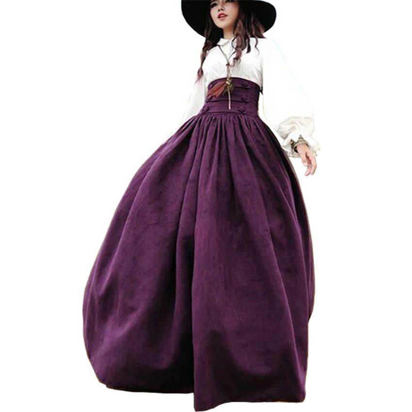 2020 Nieuwe Jaar Vrouw Middeleeuwse Elegante Rok Effen Hight Taille Middeleeuwen Renaissance Kostuums Vintage Swing Geplooide Rokken