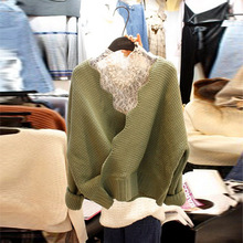 Autumn Sweater New Style Women Wear Lace Bottom + Pullover Knitted Fashion Two Sets Pullovers 2019