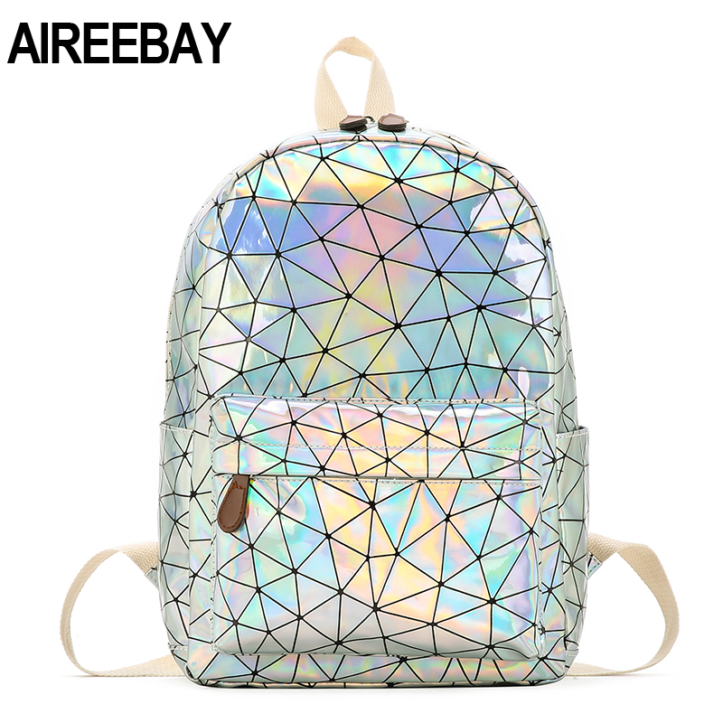 AIREEBAY Fashion Laser Lady Backpack Mini Women Travel Bags PU Leather Holographic Backpack School Bags For Teenager Girls
