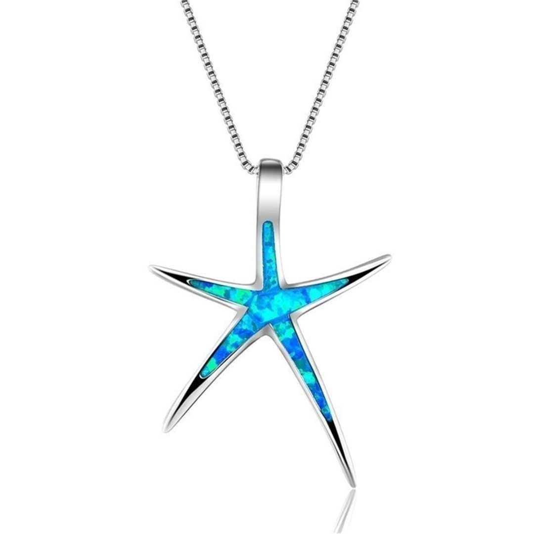 Винтажное Серебряное украшение на длинной цепочке для женщин богемный Кристалл из опала звезда Подвеска Ожерелье летние мужские ювелирные изделия