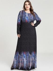 Image 2 - Printed Abaya Muslim Dress Arabic Floral Abayas Kaftan Dubai Maxi Dresses for Women vestidos baju muslim pesta Black+Blue M 4XL