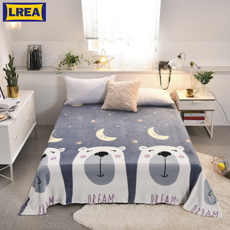LREA Grey Lovely Bear Coral Fleece Blanket плед For Bedding Or Sofa Travel Be Usd Throw Autumn And The Summer