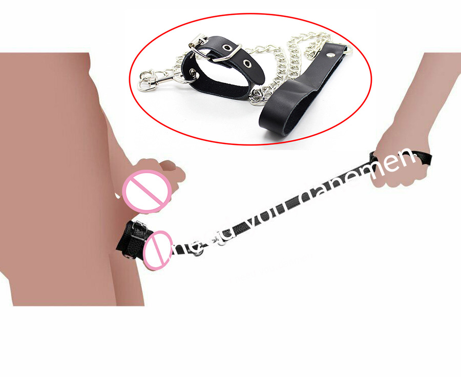 Leather Ball Stretcher With Leash, Humiliating Ball-Stretcher Leash Set,Male Chastity Device, BDSM Sex Toys,