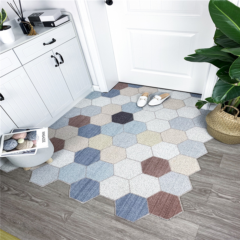 Напольный коврик с шелковой петлей, ковер для дома, гостиной, крыльца, входного коврика, нескользящий моющийся шестигранный дверной коврик ...