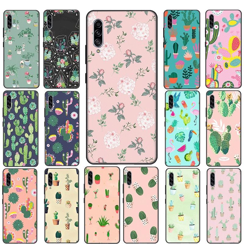 Silicone Phone Case for Samsung Galaxy A3 A5 A6 A7 A8 A9 J6 J4 Plus or J7 Duo J8 A2 J4 Core Cover Cactus pattern