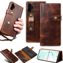 For Coque Samsung Note 20 Ultra S20 Plus Note 10 S10 Real Leather Flip Wallet Finger Strap Grip Cover Case for Samsung S20 Funda